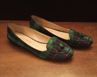 Julianne Hough Plaid Flats for Solesociety Green Blue Yellow Tassels Size 6.5 6 1/2 36.5 36 1/2