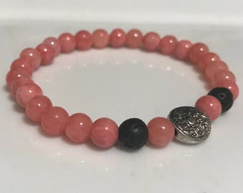Diffuser Bracelet - Pink and Silver Handmade Beaded Bracelet with Diffuser Lava Beads