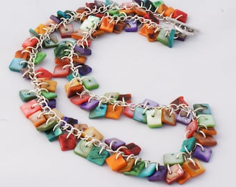 Rainbow Shell Silver Necklace