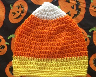 Handmade Crochet Adult Halloween Candy Corn Hat