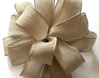 Christmas Tree Topper / Xmas Decorative Bow / Burlap Christmas Bow / Burlap Tree Topper / Burlap Christmas Tree Bow / Handmade