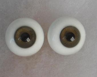 1 Pair 20mm Kais German Glass Doll Eyes  Hazel Paperweight