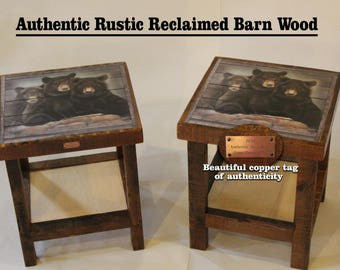 Great Rustic Reclaimed Barn Wood Black Bear End Stands And Coffee Table Furniture  Bed Stand