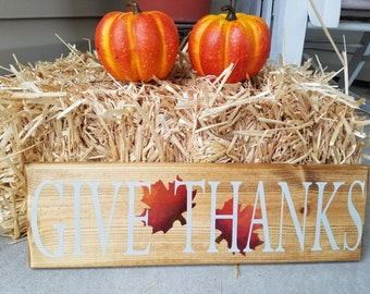 """Hand painted """"Give Thanks"""" fall sign"""