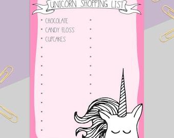 Unicorn Shopping List Pad