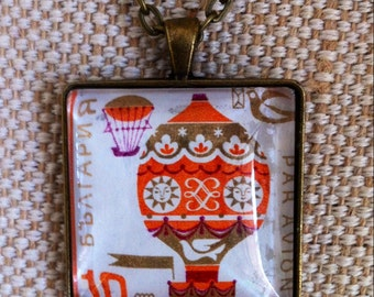 CLEARANCE! Hot air balloon stamp necklace / Vintage upcycled Bulgarian stamp pendant / bronze tone square pendant