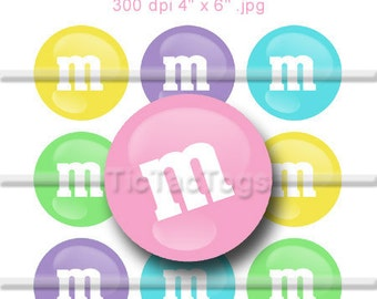 Pastel Candy M's Colorful Bottle Cap Art Set 1 Inch Circles Round Graphics Digi Collage 4x6