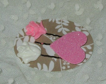 Set of 3 Bobby Pins, Pink Resin Rose, Cream Resin Rose and Pink Glittered Heart