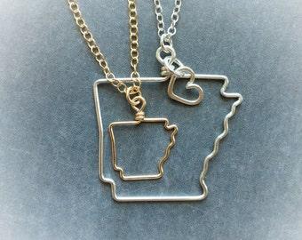Arkansas Necklace - Arkansas State Necklace - State Necklace - Arkansas Outline Necklace - State Outline Necklace - Home State Necklace