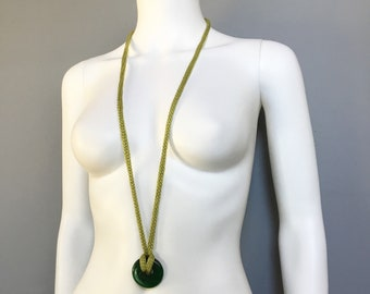 Spring, Green, Necklace, Long, Pendant, Recycled Glass, Cotton Floss, Knit, I Cord, Boho, Mother's Day, Wabi-sabi, Eco Friendly Gift