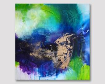 Originele extra grote abstracte schilderij, moderne kunst, vet kleuren, acryl op uitgerekt geweven doek, donker blauw gouden illustraties