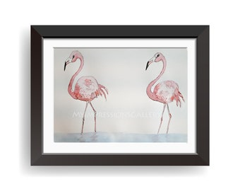 Flamingos Water Colour