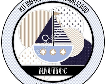 NAUTICO Azul, celeste and Beige · Custom printable Kit