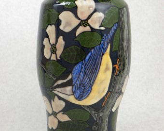 Pottery Vase with Nuthatch and Brown Creeper(Item#46)