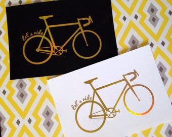 Cycling print - bike gold 5x7 print on white or black paper