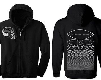 Music Minded Hoodie Men's and Women's Skull Geometric Tone Wave Hooded Sweatshirt Sacred Geometry