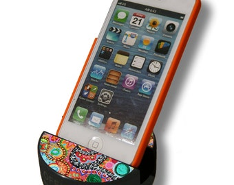 Bright Paisley  - Hockey Puck Cell Phone Stand - Prints and Patterns Collection - iPhone / Galaxy / Smartphone Stands by PuckUps