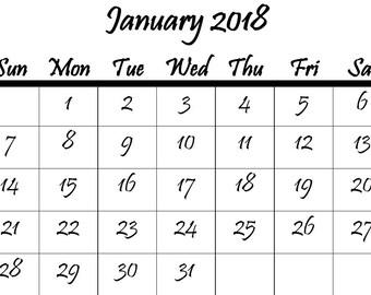 small 2018 calendar printable
