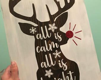 All is calm, all is bright sign, christmas decor, glitter sign