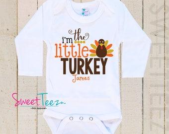 Little Turkey Shirt Baby Bodysuit I'm the big turkey Thanksgiving Shirt Boy Girl Personalized Shirt Girl