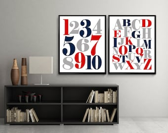 Alphabet and numbers Art, ABC Wall Art, Abc Poster, Alphabet poster, Alphabet Art, Alphabet Print, Printable nursery wall art