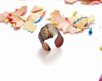 Copper patina ring Wide copper ring Blue patina ring Ring for women Adjustable ring Copper jewelry for gift Open copper ring Gift ring