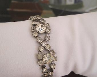 Vintage Bracelet Rhinestones 1950s Mid Century Glam