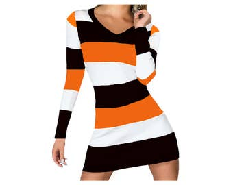 Orange + Black Stripe Spirit Dress