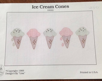 Shadow Stitching, ice cream cones shadow stitching, vintage shadow stitching, vintage pattern