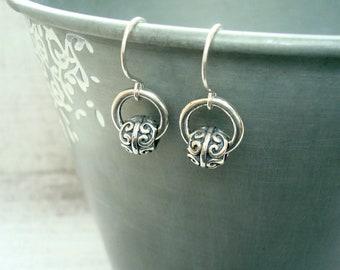 Hoop earrings - Sterling silver earrings - Bali bead earrings - Boho earrings - Small everyday earrings - Casual earrings - Ethnic jewellery