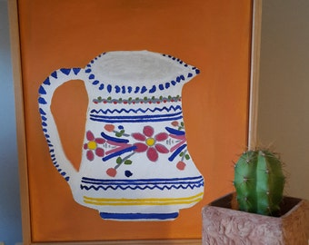 Framed Spanish / Mexican jug folk art painting, orange background, oil on canvas, wooden frame. Ceramics, tribal, naive art