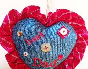 Fathers Day Gift, Heart Ornament, Gift for Dad, Father's Day Gift, Secret Pocket Message, Denim Ornament for Dad, Handmade Ornament CTO151