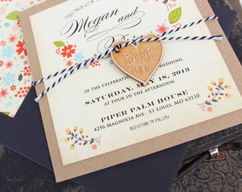 Vintage Floral Wedding Invitation (Pocket Card) - Design Fee