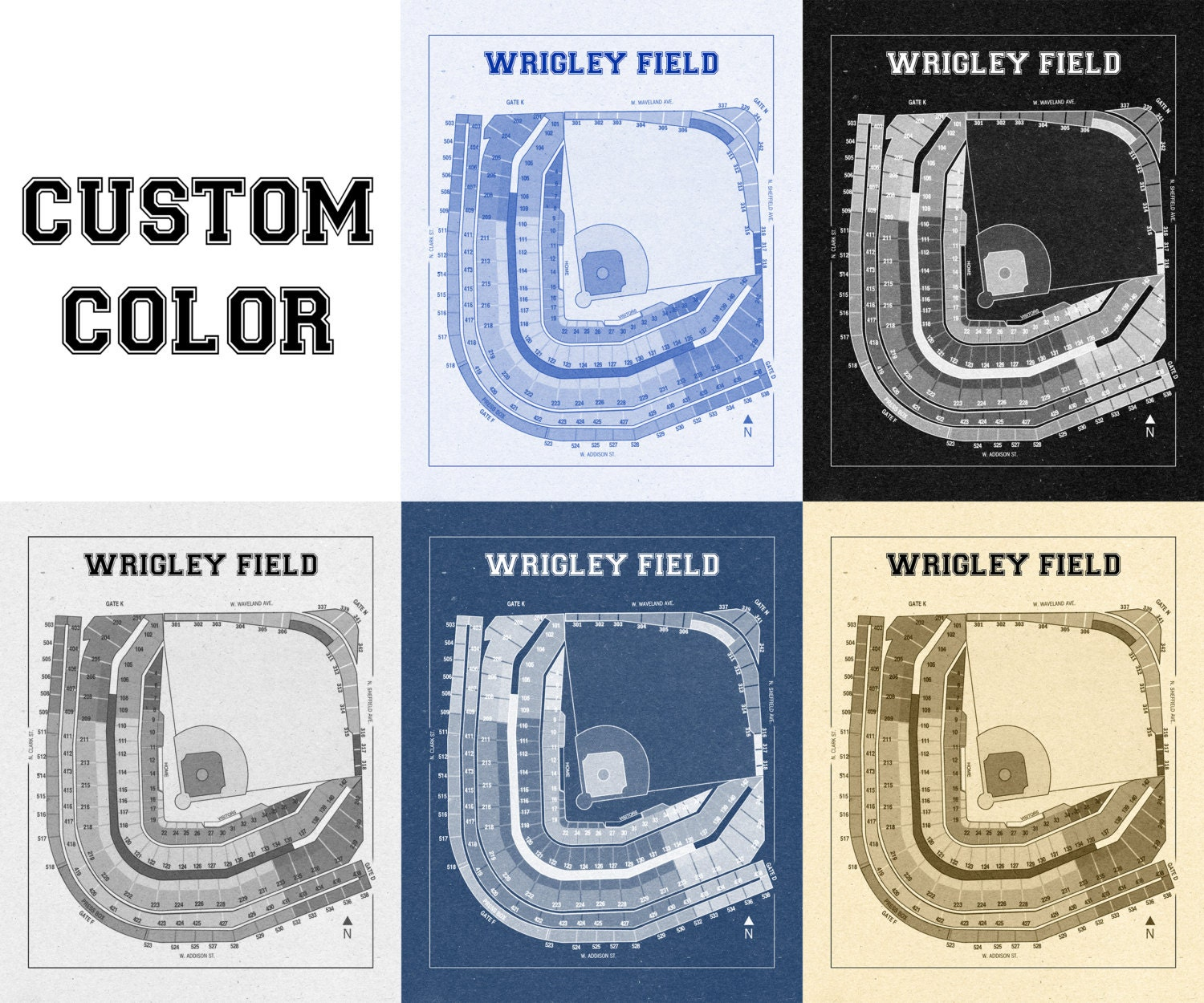 Vintage print of wrigley field seating chart blueprint chicago cubs vintage print of wrigley field seating chart blueprint chicago cubs illinois photo paper matte canvas sports art baseball diagram sports malvernweather Choice Image