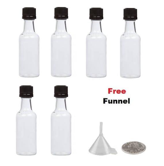 Mini Liquor Bottles 6 miniature liquor bottles BLACK caps