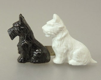 Vintage Celluloid Scottie Dogs Brooch Made In GT Britain