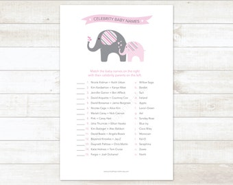 celebrity baby names baby girl shower matching game card printable elephant pink grey baby shower digital games - INSTANT DOWNLOAD