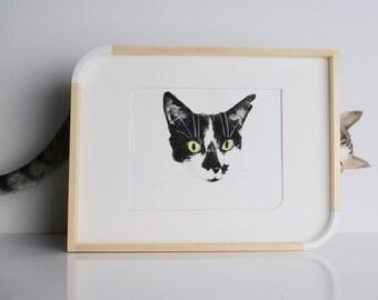 Custom Cat Watercolor Portrait // Personalized Pet Painting // Cute Home Decor // Unique Cat Lover Gift // Original Art // Christmas Guide
