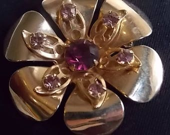 Gold and Amethyst rhinestone posy pin, vintage flower pin, 1950s