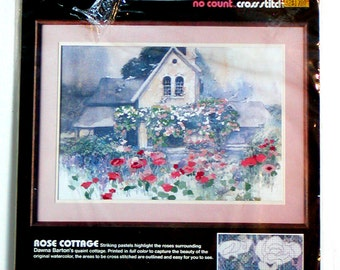 """1987 NIP COTTAGE ROSE Kit Dimensions No Count Cross Stitch Unworked 20""""x14"""" Stamped Fabric Design Vintage"""