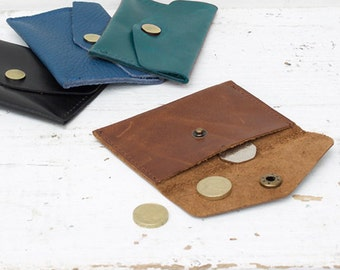 Leather coin purse with brass popper
