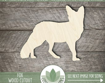 Fox Wood Cut Shape, Unfinished Wood Fox Laser Cut Shape, DIY Craft Supply, Many Size Options, Blank Wood Shapes