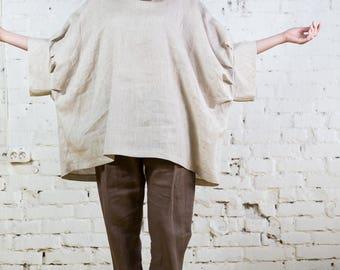 One size linen top, linen boho top, linen kimono top, linen oversize top, linen plus size top, linen oversized plus, organic linen/LB0006