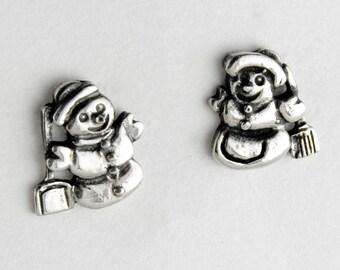 Snowman Sterling Silver Post Earrings