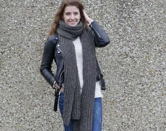Women's hand knit extra long scarf / Women's scarf / Very long scarf / Wool knit scarf / Brown scarf