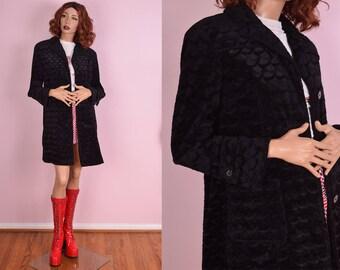 90s Scale Pattern Faux Fur Coat/ Small/ 1990s/ Jacket