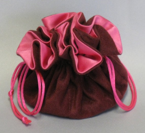 Jewelry Travel Tote---Cranberry Color Soft Suedecloth---Organizer Pouch--Regular Size