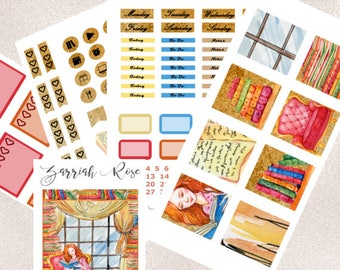 Read-a-holic - LUXE Planner Sticker Kit | Erin Condren Life Planner (Vertical), Books, Weekly Kit, Chic, Watercolor, Cozy
