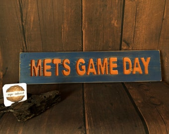 HAND CARVED/New York Mets Game Day Wood Sign/NY Mets Wooden Sign/Hand Carved Sign/Handmade Wooden Sign/Sports Sign/Baseball Wood Sign