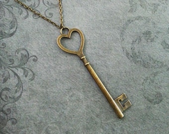 Heart Key Necklace LARGE Key to my Heart Necklace Key Jewelry Steampunk Necklace Anniversay Necklace Brass Pendant Necklace Bridesmaid Gift